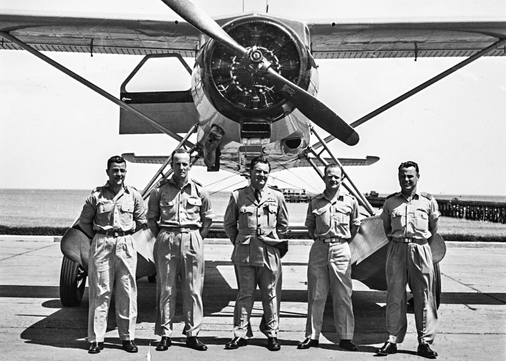 1955-56 RAAF Antarctic Flight, L to R SGT Johanson, PLT OFF Seaton, SQN LDR Leckie, SGT Sundberg, FLT LT Clemence (Doug Leckie Collection)