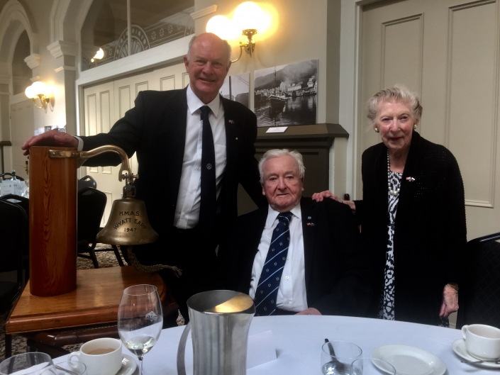 Captain Murray Doyle with Norman and Julie Tame at the HMAS Wyatt Earp Function, Hobart 2019