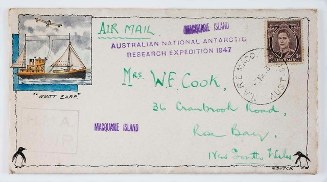 Wyatt Earp stamped cover from Macquarie Island